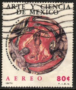 MEXICO C384 Art & Science, MAN IN FLAMES BY J. CLEMENTE OROZCO USED. F-VF.(1279)