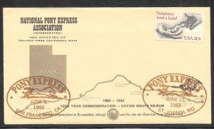 Just Fun Cover #2039 San Fran.- St Joseph Pony Express 123 Years Comm. (my4358)