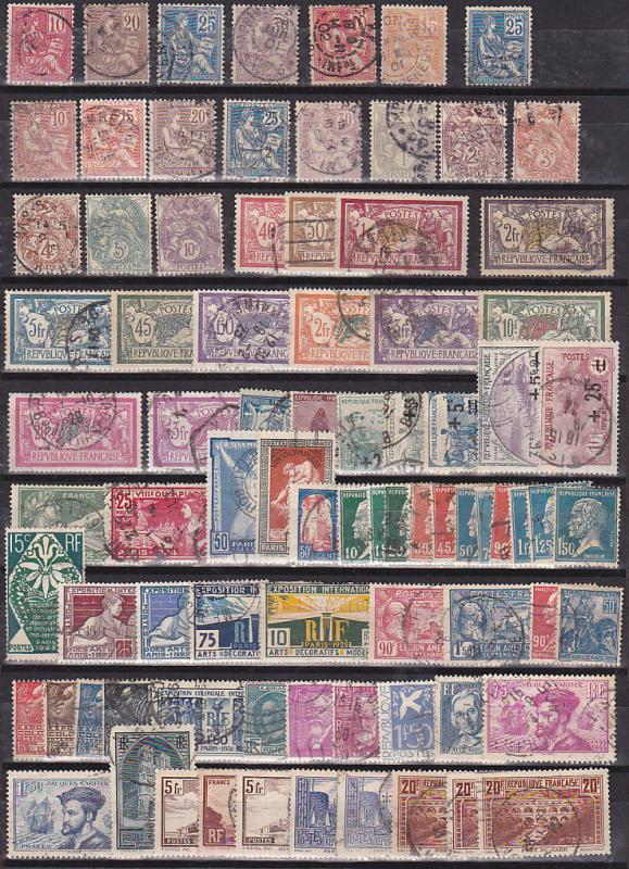 France selected high value used stamp collection 1900 to 197ies cat