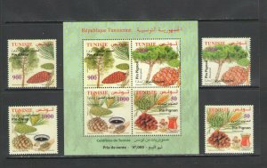 TUNISIA :Sc. 1620-23,a / **CONFERS-PLANTS **/ Set of 4 & Sov Sheet   / MNH