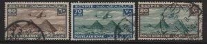 EGYPT  C20-C22  USED,  AIRPLANE OVER GIZA