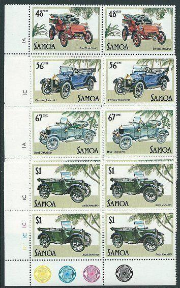 SAMOA 1985 Vintage Cars in plate blocks of 4 MNH...........................41444