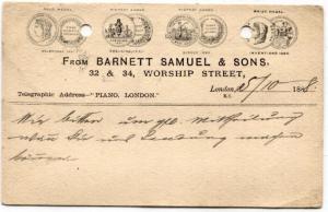 DD131 1888 GB ADVERT POSTAL STATIONERY *Piano Dealer* Card London Squared Circle