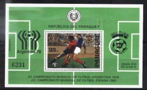 PARAGUAY 1979,SPORT,FOOTBALL,SOCCER,WORLD CUP S/S  MI  BL 343,MNH