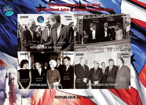 Chad 2013 J.F. Kennedy De Gaulle Sheet Imperforated mnh.vf