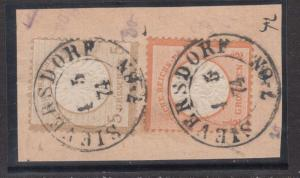 Germany #16 & #20 VF Used On Piece With Dated Cancels