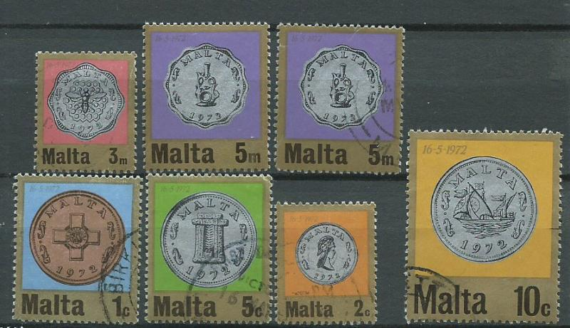Malta selection of 7 from 1972 Decimal Currency used - fi...