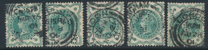 Great Britain SG 213 SC# 126 PERFINS Used group of 5 see scans & details
