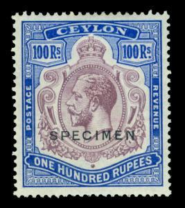 CEYLON 1927 KGV 100rs blue & pur SPECIMEN ovpt. Sc# 247 (SG 360)  mint MH VF