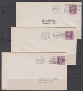 US Sc 720-722 FDCs. 1932 3c Washington, Perf Stamp, Horizontal & Vertical coils