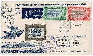 (I.B) New Zealand Cinderella : Pigeon Post Jubilee Cover (1948)