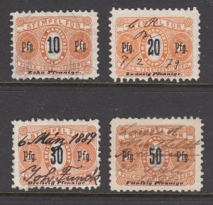 Germany, Bremen, 1878 Fire Insurance revenues, 4 different, used, sound, F-VF.