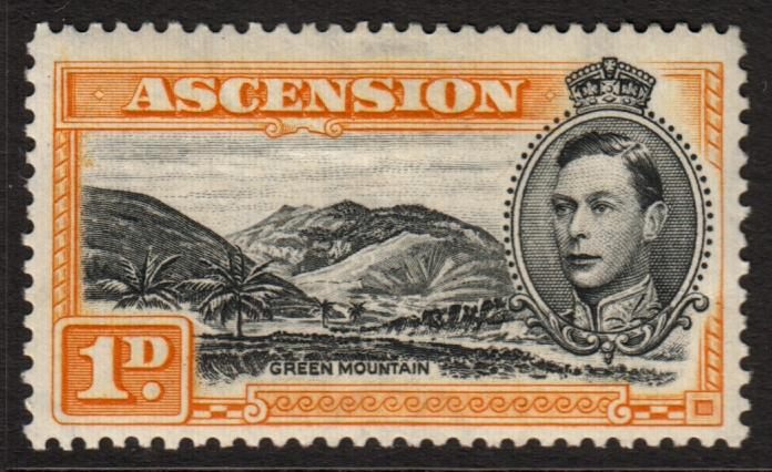 Ascension KGVI 1938 1d Black Yellow-Orange SG 39b Mint Hinged