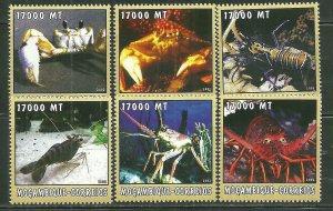 Mozambique MNH 1664a-f Crustaceans 2002 SCV 9.50