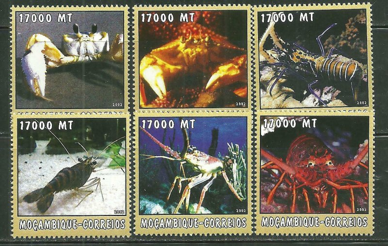 Mozambique MNH 1664a-f Crustaceans Marine Life 2002 SCV 9.50