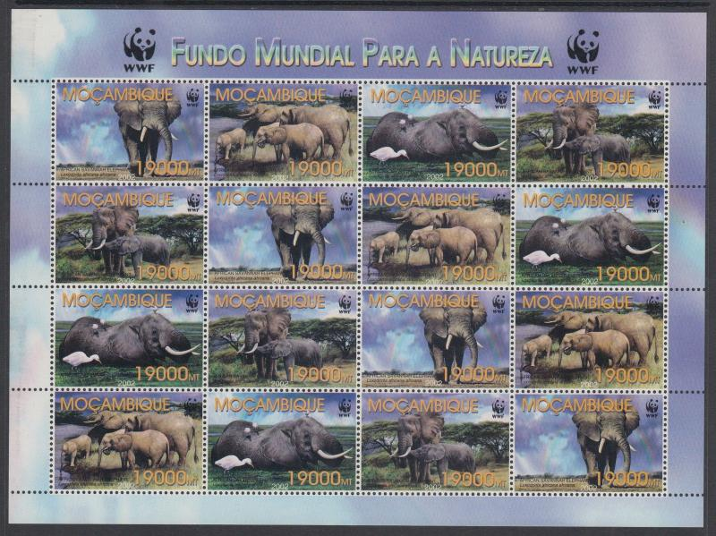 XG-BA315 MOZAMBIQUE IND - Wwf, 2002 Elephant, Wild Animals, 4 Sets MNH Sheet