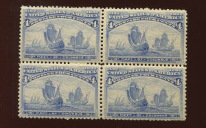 233 Columbian Mint Block of 4 Stamps NH  (Stock 233 A1)