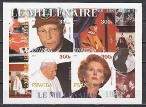 Rwanda, 2001 Cinderella, 80`s sheet. Pope John Paul II,  M. Thatcher. IMPERF.