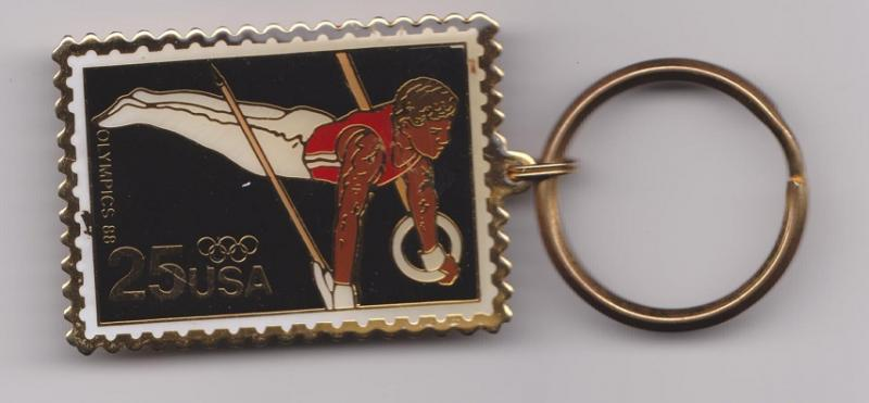 Metal Key Ring Featuring Scott 2380 Olympic Rings Gymnast