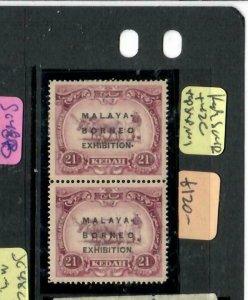 MALAYA KEDAH   (PP2204B)  MBE 25C SG 42+42C VERT PR TOP MOG, BOTTOM MNH