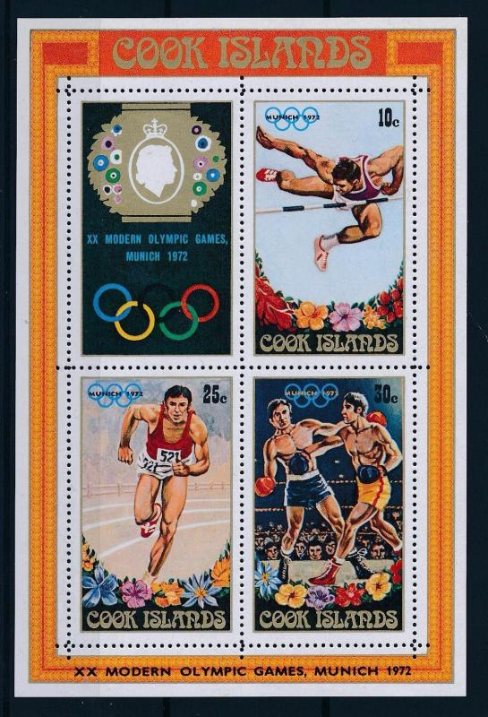 [56720] Cook Islands 1972 Olympic games Munich Boxing Athletics MNH Sheet