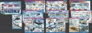 PE 2015 DJIBOUTI TRANSPORT HISTORY WAR AVIATION HELICOPTERS !!! 7BL+7KB MNH