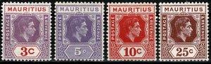 MAURITIUS 1938-49 KG VI 3c-25c (4 STAMPS) PART SET SG253-55-56-59 Wmk.MSCA VGC