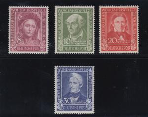 Germany Sc B310-B313 MNH. 1949 Portraits, semi-postals cplt VF