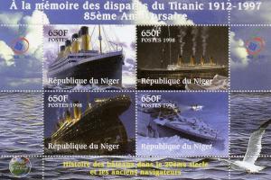 Niger 1998 Titanic Sheet (4) Perforated mnh.vf