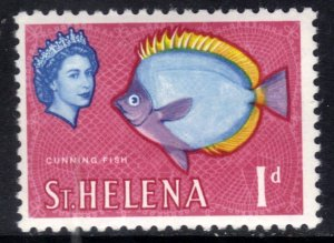 St Helena 1961 - 65 QE2 1d Butterflyfish mm Chalky SG 176a ( J596 )