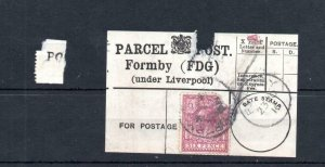 GEORGE V 6d USED ON PARCEL POST LABEL (FORMBY, UNDER LIVERPOOL)