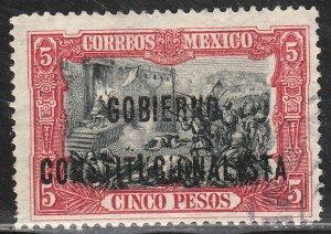 MEXICO 433, $5P REVOLUT OVPT GOBIERNO $ CONSTITUC. USED,. F-VF. (1118)