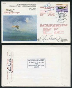 FF5b 70th Ann 1st Aeroplane Flight Across the Channel Signed by 2 Pilots