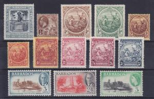 Barbados Sc 110/237 MLH. 1907-53 issues, 13 diff F-VF