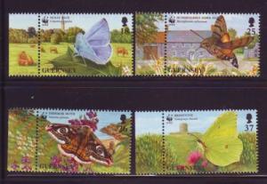 Guernsey Sc 586-9 1997 Butterflies Moths WWF stamps mint NH