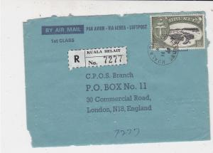 Brunei 1968 Registered Kuala Belait Stamps Cover FRONT to England Ref 33227