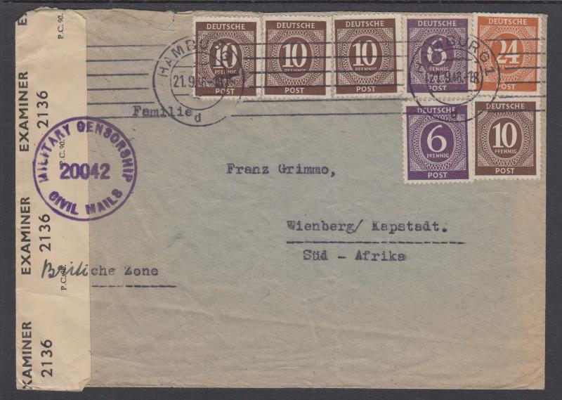 Germany Sc 535 (2), 537 (4), 544 on 1946 Censored Cover to South Africa