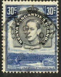 KENYA UGANDA AND TANGANYIKA 1938-54 KGVI 30c JINJA BRIDGE Issue Sc 76 VFU