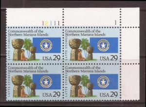 PKStamps - US - 2804 - Mariana Islands - Plate Block of 4