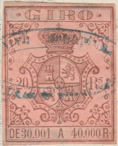 ESPAGNE / SPAIN / ESPAÑA 1861 Sello Fiscal (GIRO) 20 reales - (repaired)
