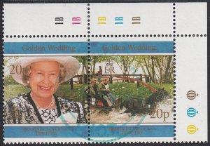BIOT 1997 used Sc #190a Pair 20p QEII, Prince Philip 50th Wedding Ann