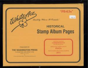 2011 White Ace U.S Simplified Commemorative Plate Block Stamp Supplements PB-63s