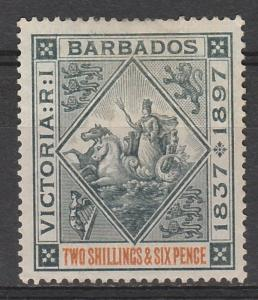 BARBADOS 1897 QV JUBILEE 2/6 TOP VALUE