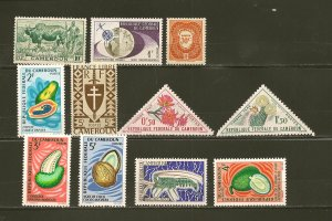 Cameroun Lot of 11 Different Older Stamps MNH