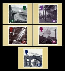 STAMP STATION PERTH G.B. PHQ Cards No.158- Set of 5 - Trains Mint 1993