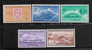 TONGA, 114-118, MNH, 75TH ANNIV. POSTAL SERVICE