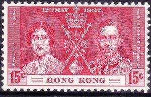 HONG KONG 1937 KGVI 15c Carmine SG136 MH