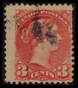 CANADA 1888 QUEEN VICTORIA VINTAGE 3c VERMILLON #41 USED SEE SCAN (V798F)