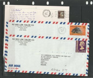 Hong Kong, 3 x QE2 commercial letters ( 1 card ) to UK, all Kowloon cancels