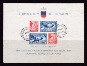 Liechtenstein a 1936 used mini sheet